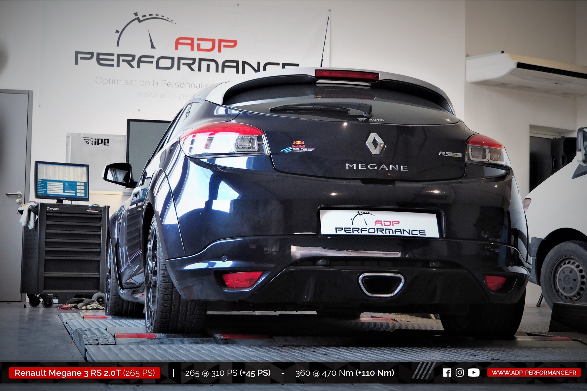 Reprogrammation moteur Arles, Cavaillon, Marignane - Renault Megane 3 (Ph3) RS 2.0T 265cv - ADP Performance