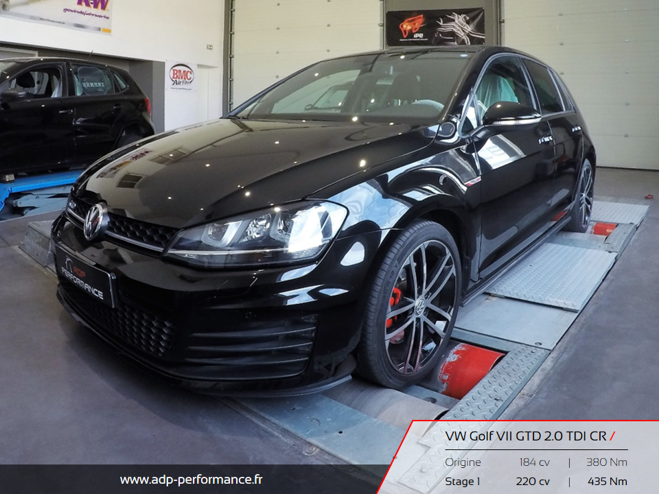 Reprogrammation moteur Avignon, Carpentras, Miramas - Golf VII GTD 2.0 TDI CR ADP Performance