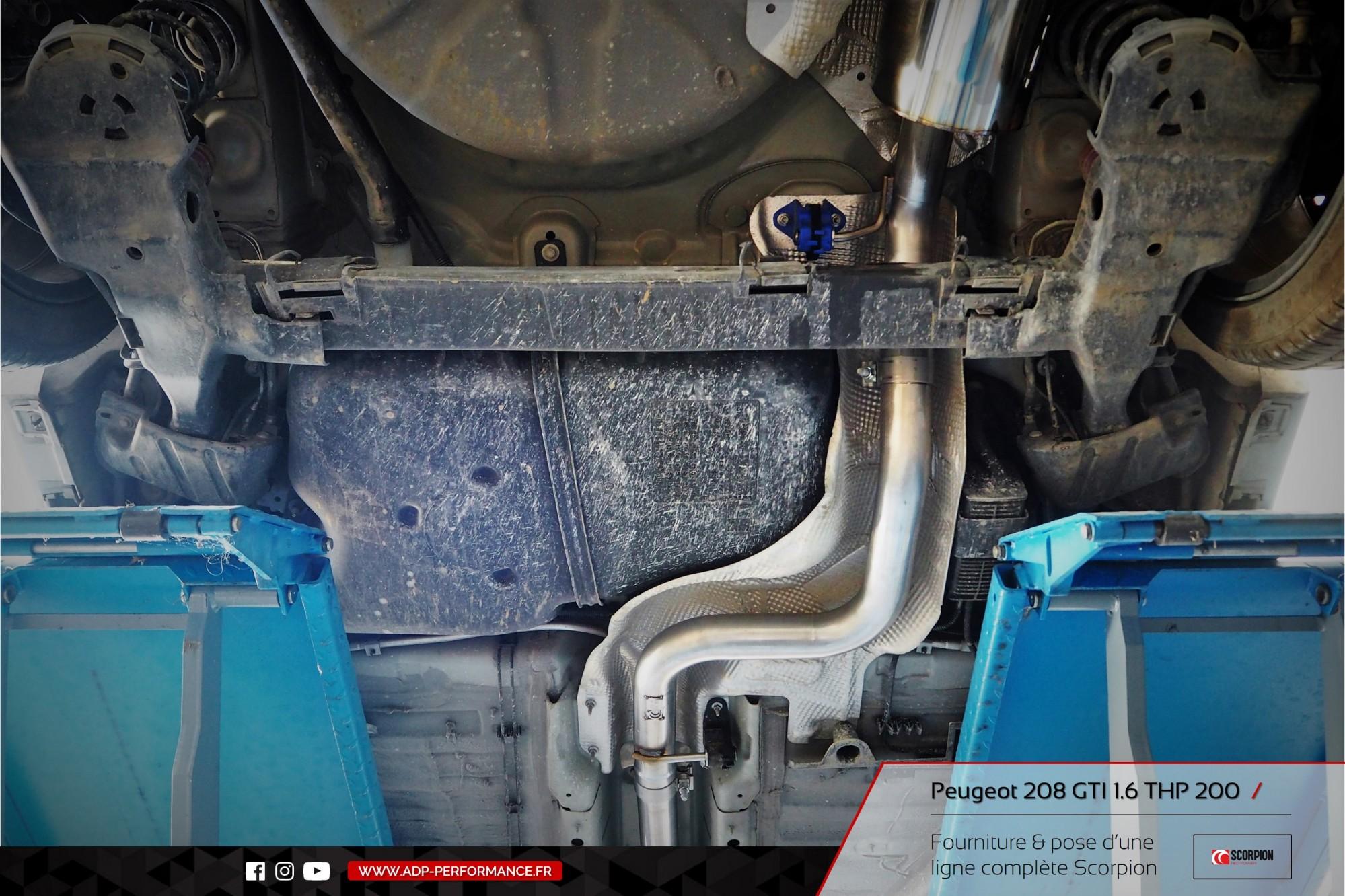 Ligne d'échappement Scorpion Peugeot 208 GTI 1.6 THP 200cv Marseille - ADP Performance