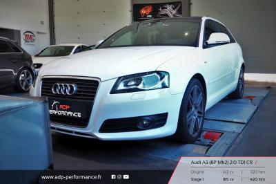 Reprogrammation moteur Salon de Provence - Audi A3 8P Mk2 2.0 TDI CR 143cv - ADP Performance