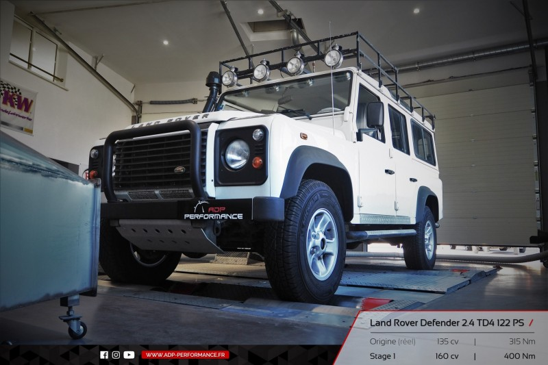 Reprogrammation moteur Nice, Cannes, Cassis - Land Rover Defender 2.4 TD4 122cv - ADP Performance